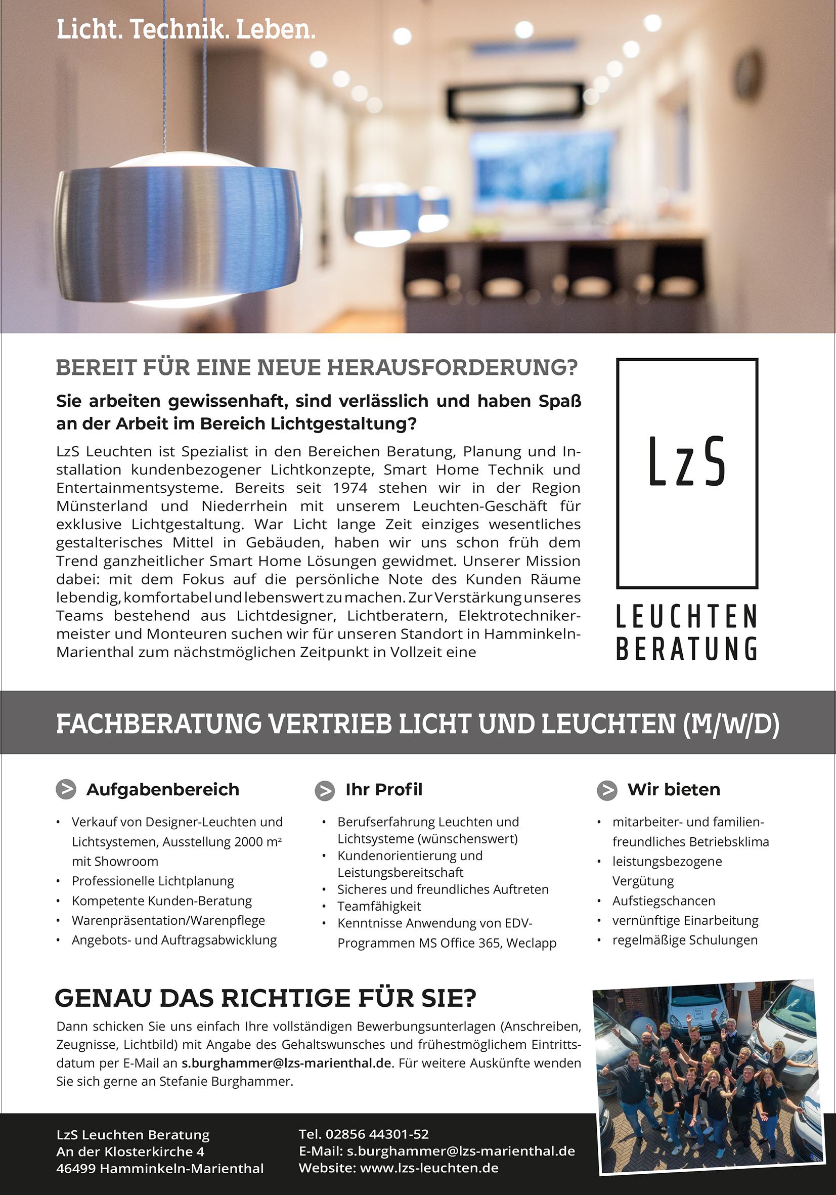 Fachberatung Vertrieb Licht und Leuchten